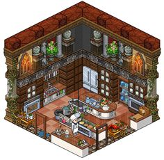 Mansion - Kitchen by Cutiezor Isometric Art, Isometric Design, Fantasy Landscape, Fantasy Art, Habbo Hotel, Mansion Kitchen, Anime Pixel Art, Pixel Animation, Pixel Art Games