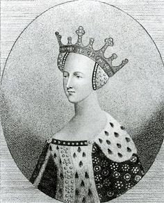 Katherine of France (bn. 1401), daughter of Charles VI King of France.  Married Henry V of England in 1420, mother of Henry VI.  Later secretly married Owen Tudor and birthed Edmund (father of Henry VII) and Jasper Tudor.