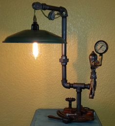Steampunk Art Machine Age Industrial Style Table / Desk Lamp Model A Ford #Handmade #RusticPrimitiveSteampunk