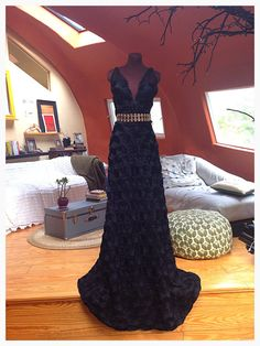 Long Black Rose Textured Dramatic Gown with VNeck by SallyEsposito, $795.00