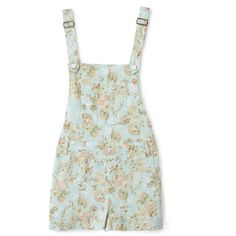 Floral Print Overall Shorts (€31) ❤ liked on Polyvore featuring shorts, dresses, overalls, playsuits, forever 21 and short overalls