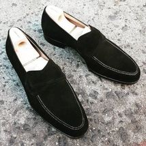 Stylish Men's Handmade Stylish Black Suede Penny Loafer Dress Shoes, Men Fashion Slip On Shoes Women's Shoes, Black Loafer Shoes, Suede Leather Shoes, Dress Shoes, Shoes Men, Platform Shoes, Prom Shoes, Fall Shoes, Spring Shoes