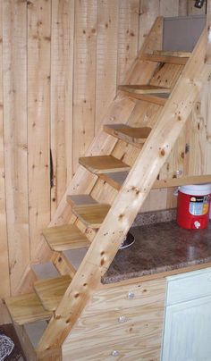 Laura recently completed an upgrade to her tiny house's stairs that made their steepness much more manageable. Here's how she did it: http://tinyhouselistings.com/the-taming-of-the-stairs