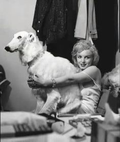 Marilyn makes friends with the dog used in the Jean Harlow session. Photo taken in 1958.