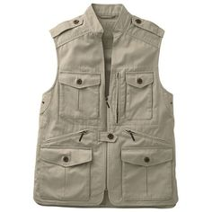 Men's Bush Poplin Safari Vest ($111) ❤ liked on Polyvore featuring men's fashion, men's clothing, men's outerwear, men's vests, khaki, mens khaki jacket outerwear, mens khaki vest, mens vest outerwear, mens vest and mens button sweater vest