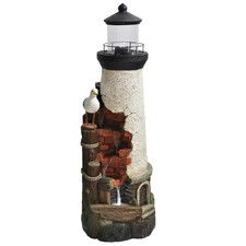 Poly-resin and Stone Powder Coastal Authentic Lighthouse Fountain