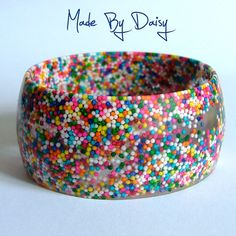 Hundreds and Thousands Sweets Retro Kitsch Wide Chunky Bangle Resin Candy
