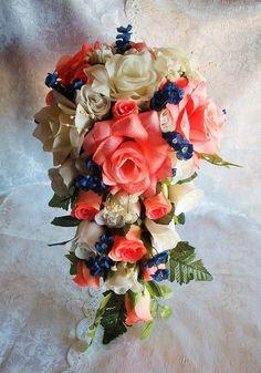 Wedding Bouquet Bridal Roses Cascade 2pc Coral Peach by petalnpink