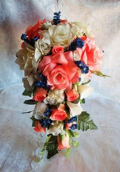 Wedding Bouquet Bridal Roses Cascade 2pc Coral Peach by petalnpink