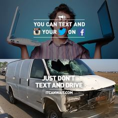 If you're a ZEALOT about technology, the don't put it in drive! Texting While Driving, Distracted Driving, Drive Safe Quotes, Dont Text And Drive, It Can Wait, Jersey Boys, Trauma, First Love, Waiting