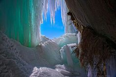 Ice cave in northern Michigan
