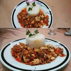 Salteado de pollo con finas hierbas y timbal de arroz 😍 !