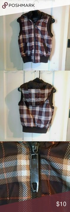 Womens plaid vest Plaid hooded vest. Zipper tab is slightly bent shown in picture but it doesn't affect anything. Brand is Ashley by 26 international. Jackets & Coats Vests