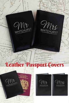 Personalised Passport Covers.  Travel in style with your own passport cover that has been personalised with your name.  This pair of leather passport cases would make an ideal Wedding Gift, or the perfect Leather Wedding Anniversary Gift or just because you want to keep your own passport safe  - http://www.omgmygift.co.uk/black-mr--mrs-passport-holders-46197-p.asp