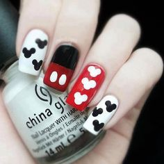 Mickey ispired nails! Easily done with a dotting tool or back of a straight pin! and maybe tape for the middle finger if you want a SUPER straight line.