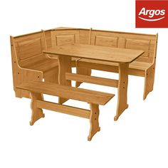 Argos Home Puerto Rico Solid Wood Nook Table & 3 Corner Bench Set Corner Bench Dining Table, Nook Table, Dining Table With Bench, Table And Chair Sets, Dining Room, Kitchen Corner Units, Corner Nook, Kitchen Seating, Solid Wood Table