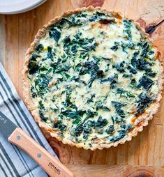// winter greens & gruyere morning tart cornmeal millet crust