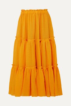 Saffron linen-blend gauze Pulls on polyamide Dry clean Lisa Marie Fernandez, Midi Skirt, Casual, Skirts, Chan Luu, Model, How To Wear, Clothes, Flip Flops