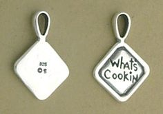 Sterling Silver WHAT'S COOKIN Hot Pad Charm.  $16.99 #charms #hot #pads #cooking #baking #sterling #silver #jewelry  http://www.silvermessages.com/sterlingsilverjewelry/product/73812.html