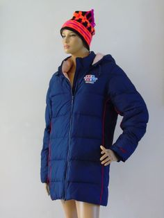 Warm winter jacket. Navy blue with red pump lines and pink lining. Detachable zip on hood, 2 zip side pockets and 1 inside pocket. | eBay!