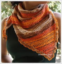 Sweet Nothings Crochet Katia Ombre Triangular Scarf