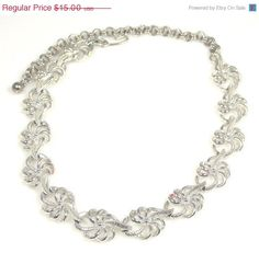 CIJ Sale Vintage Star Floral Looped Silver Tone Necklace Choker