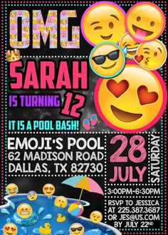 Emoji Pool Party Birthday Invitation by DreamsDigital on Etsy