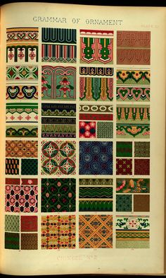 GRAMMAR OF ORNAMENT _ AMAZING RESOURCE FOR PATTERNS via Smithsonian   Chinese Ornaments painted on Porcelain, and on Wood, and from Woven Fabrics.,  Image number:39088012147732_0189