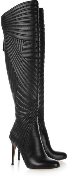 VALENTINO Black Stitched Leather Knee Boots