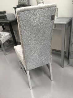 The Stunning Glitter Furniture Company Dining room chairs - silver velvet - silver glitter #GlitterRoom