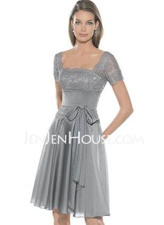 Bridesmaid dress - A-Line/Princess Scoop Neck Knee-Length Chiffon  Charmeuse Prom Dresses With Ruffle  Lace (018005084)