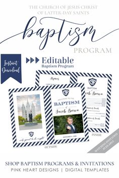 Save time preparing for your son's baptism with this classic baptism program! Your information and photos can be easily added by you!   Click to view baptism programs and a matching invitation now!   #baptismprogam #LDSbaptism #boybaptism #LDSprintable #ldsbaptismprogram #LDSbaptisminvitation Baptism Announcement, Birth Announcement Template, Lds Baptism Program, Boy Baptism, Baptism Ideas, Heart Designs, Photoshop, Program Template, Baptism Invitations