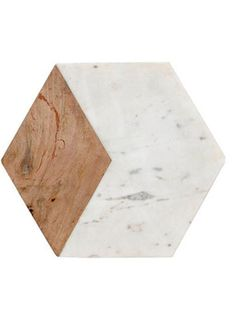 Marble and wood hexagon chopping board