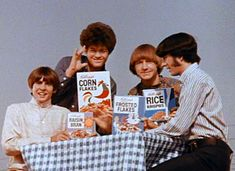 """""""K, E, Double L, O, Double Good.  Kellogg's Best To You!""""... The Monkees, Micky Dolenz, Davy Jones, Mike Nesmith, Peter Tork."""