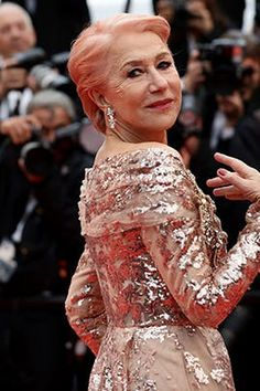 Dame Helen Mirren Debuted Bubble-Gum Pink Hair on the Cannes Red Carpet (and It's the Most Fun) #purewow #beauty #celebrity style #hair #celebrity #red carpet #news