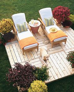 Create Your Own Sun Deck   Martha Stewart Living - This floating platform consists of 4-foot-square sections that are screwed together in an alternating pattern. It's made of cedar, a naturally weather-resistant wood. Synthetic-wicker chaises with teak arms encourage sunbathing.
