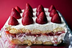 This dish is sort of a summery tiramisù. The creamy mascarpone and ladyfinger layers in tiramisù are a natural with strawberries. But the espresso is too overbearing to match well with the sweet fruit. What to do? Swap out the liquid. Moscato d'Asti, a lightly sweet and fizzy wine, works here. Drizzle more of the wine on just before serving. It adds just the right brightness and verve. (Photo: Andrew Scrivani for The New York Times)