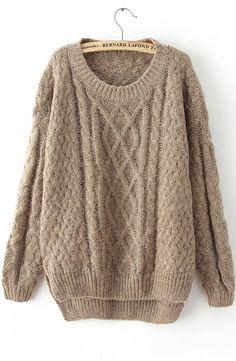 Khaki Long Sleeve Cable Knit Loose Sweater - Sheinside.com