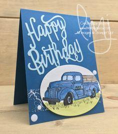 Birthday Truck | Stampin\' Up! | Country Livin\' #literallymyjoy #birthday #happybirthday #watercoloring #dapperdenim #ColorTheoryDSP #masculine #truck #20172018AnnualCatalog