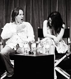 Once Upon A Time's Robert Carlyle (Rumplestiltskin) with Emilie de Ravin (Belle) having a silly moment