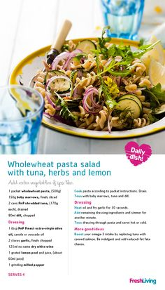 Wholewheat Pasta Salad with Tuna, Herbs and Lemon Soup And Salad, Pasta Salad, Tuna Salad, Good Food, Yummy Food, Recipe Search, How To Cook Pasta, Pasta Dishes, Cooking Tips