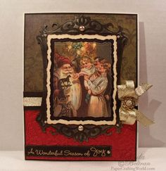 Vintage Christmas card using Spellbinders and Art Philosophy Stamp. http://www.mypapercrafting.com/2012/12/25days-d1.html