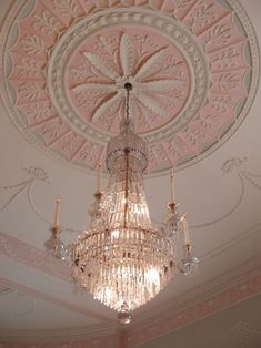 Pretty in pink & perfect for a princess. This crystal chandelier beautifully hangs from an ornate & unique ceiling medallion that features a lovely pink & cream color combo. Pale Pink, Pink White, Pink Lily, Dusty Pink, Rose Gold Aesthetic, Makeup Aesthetic, Design Creation, Pink Chandelier, Princess Aesthetic