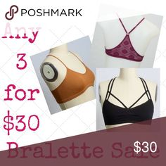 🔥WEEKEND BRALETTE SALE🔥 3 for 30!🔥 Comment before your purchase to name your bralettes and I will make a custom bundle for you! You can snatch these up for only $10 bucks a piece if you buy 3! 💖 Intimates & Sleepwear Bras
