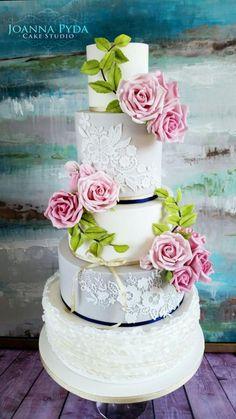 White and grey wedding cake by Joanna Pyda Cake Studio - http://cakesdecor.com/cakes/252888-white-and-grey-wedding-cake