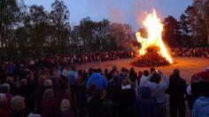 Valborgsmässoafton i Hässle, Sweden. Walpurgis Night April 30th.  (Note the shape the fire forms.)