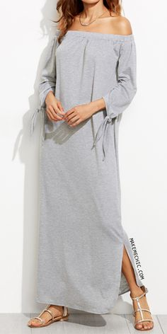 Heather Grey Off The Shoulder Tie Sleeve Slit Maxi Dress
