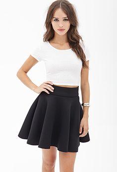 Padded Knit Skater Skirt | FOREVER21 - 2000118914