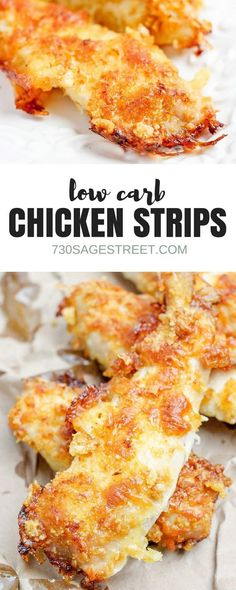 Enjoy a low carb version of breaded chicken strips with this baked chicken tenders recipe. Easy & delicious, great for low carb, gluten free or keto diets. Baked Chicken Strips, Breaded Chicken Tenders, Healthy Breaded Chicken, Keto Chicken, Healthy Chicken Strips, Low Carb Pizza, Low Carb Lunch, Low Carb Dinner Recipes, Cooking Recipes