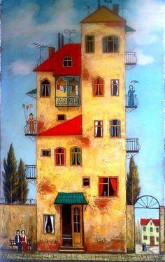 This puzzling painting is from the artist David Martiashvili. Graffiti Kunst, Illustrations, Illustration Art, House Drawing, Drawing Drawing, Naive Art, Whimsical Art, House Painting, Landscape Art